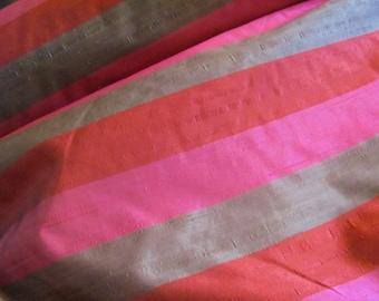 "SAMPLE SWATCH - Red Pink Stripe Silk Dupioni Taffeta Fabric Yardage - 54"" Wide - By The Yard"