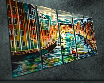 """Special Metal Wall Art Abstract Painting Sculpture Indoor Outdoor Decor """"A river cross the city"""" by Ning"""