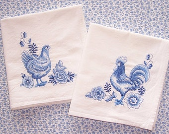 Embroidered Set of a Rooster and Hen Delft Design