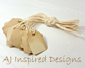 TINY Shabby Chic Tea Stained Paper Tags with String--100 tags