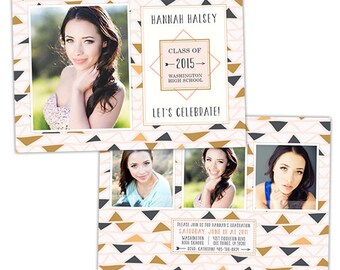 Senior Graduation Announcement Photo Card Template for Photographers - Photoshop Templates for Photographers - Photo Card Template - GD123