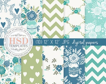 Shabby Chic Digital Paper - Blue Green Digital Paper - Floral Digital Scrapbook Paper - Digital Background - Chevron Digital Paper DP136