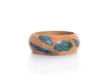 Olivewood Bracelet with Lapis,  Green Malachite and Blue-Green Eilat Stone – Color  Fusion