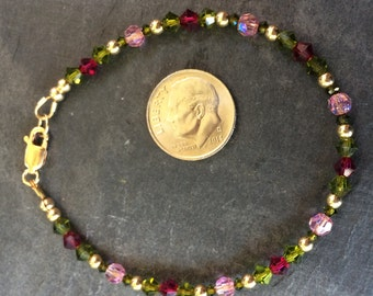 NEW! Trillium Everyday Bracelet featuring Swarovski Crystals and Gold Filled Lobster Clasp