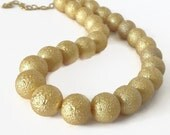 Gold Pearl Necklace, Big Pearl Necklace, Large Pearl, Faux Pearl Necklace, Chunky Pearl Necklace, Matte Gold Necklace, Gold Necklace