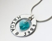 Custom Hand Stamped Necklace - Washer Necklace, Swarovski Stamped Necklace, Personalised Stamped Necklace, Name Necklace, Washer Necklace