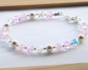 Pink Swarovski and Pearl Bridal Bracelet, Pink Bridesmaids Bracelet, Pink Wedding Bracelet, Pink Swarovski Bracelet