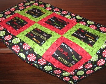 Christmas Quilted Table Runner - Table Topper - Peppermint Twist