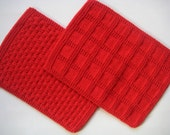 Kitchen Towels Hand Towels  Hand Knit  Red
