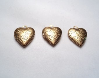 3 pcs - Brass Heart lockets with floral design - m264