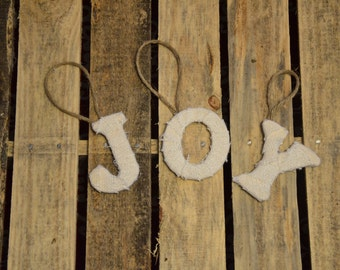 JOY Christmas Decor- Burlap Christmas decorations- or - Set of 3 stocking letters colors of your choice