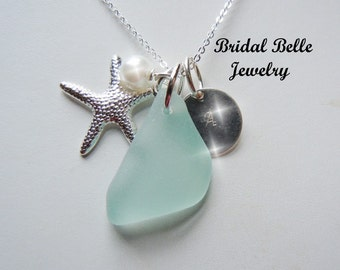 Bridesmaid Jewelry Aqua Sea Glass  Necklace Beach Wedding Glass Personalized Pendant Necklace Seaglass Jewelry Destination Wedding Jewelry