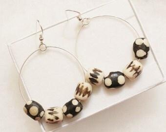 African Earrings: Sterling Silver and Bone Beads Earrings, African Bone Earrings