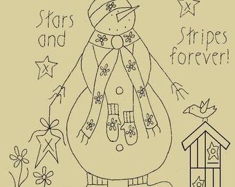 "Primitive Stitchery E-Pattern Snowman by Month ""July"", ""Stars and Stripes forever!"""