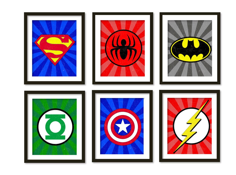 Super hero art kids wall art boys room decor by babiesartroom for Superhero wall art