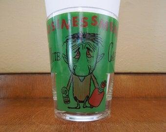 Vintage Barware Businessmen's Night Cap Drinking  Glass Cartoon