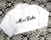 Monogrammed Robe for Bride Wedding- White, Pink, Black, Green or Aqua Robe - Monogrammed on the BACK - Shower Gift - Bridal - Weddings