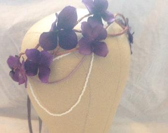 Purple flower crown floral head piece garland wreath pearl boho