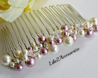 Bridal Comb, Wedding Pearl Comb, Bridal Hair Accessories, Wedding Headpiece, Pink Comb, White Ivory Pearl Comb, Bridesmaid Pearl Hair Comb