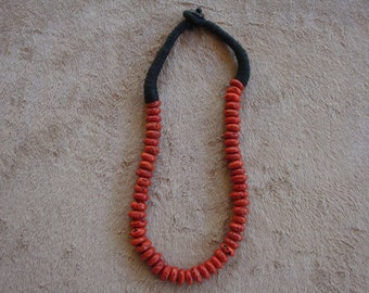 54 Red Sherpa Beads Necklace from Kathmandu, Nepal Handmade from Sherpa People