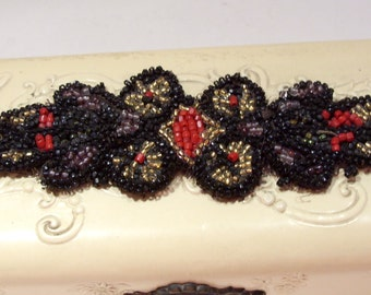 Vintage Red, Gold, Purple and Black Beaded Trim