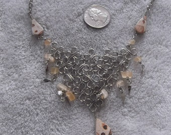 Handcrafted Pendant/Necklace--ALPACA Silver-Spotted Ocean Jasper  -N558
