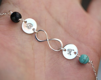 Two initials and stones,Infinity necklace with  initial charm,Sideways,Tiny stone,Love infinity,Friendship,Couple,Twins baby