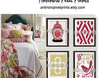 Red  Garden Gate Wall Prints, Ginger Jar, Damask and bird (4) 8 x 10 Prints, Custom Colors Sizes Available