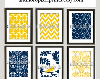 Navy Yellow Vintage / Modern inspired Art Prints Collection -Set of 6 - 8x10 Prints  - (UNFRAMED)