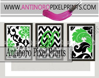 Black Lime Green Damask Personalized Digital Wall Art Print  -Set of (3) 8 x 10 -  Prints -  (UNFRAMED) Custom Colors Sizes Available