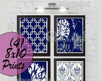 Navy Grey Floral Vintage / Modern inspired  Art Prints Collection  -Set of (4) - 8x10 Prints -   (UNFRAMED)