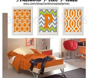 Personalized Orange Grey Digital Wall Art Print Vintage / Modern inspired Art  -Set of (3) - 8 x 10 Prints - Orange Grey (UNFRAMED)