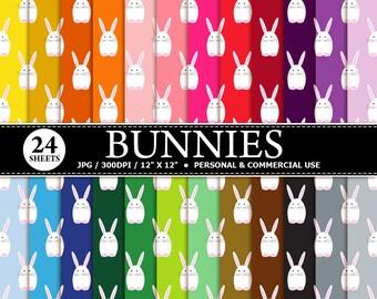 50% OFF SALE 24 Bunnies Digital Scrapbook Paper, digital paper patterns for card making, invitations, scrapbooking