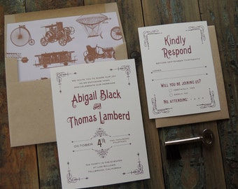 Steampunk Wedding Invitation Suite, vintage inspired industrial Victorian machinery antique train zeppelin rustic whimsical customizable