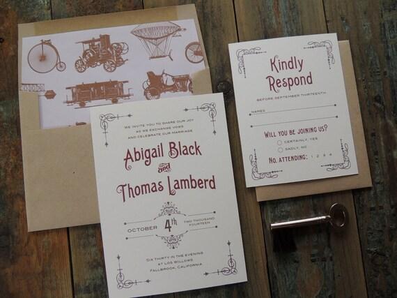 steampunk hochzeit einladung suite vintage inspiriert. Black Bedroom Furniture Sets. Home Design Ideas