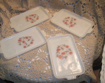 Fire King Snack Plates, Vintage Fire King Luncheon Fleurette Service 4 Plates, Vintage Snack Plates, Vintage Plates, Vintage Dishes,  :)s*