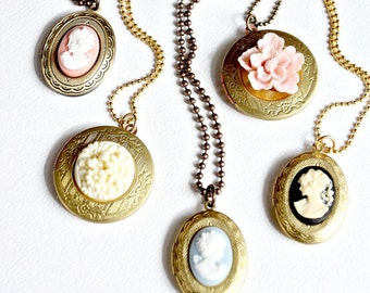 Bridesmaids Cameo Locket Necklaces- As FEATURED in Lucky Magazine