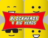 "Blockheads Party Printable - 4""x4"" Big Heads for decor - DIY"