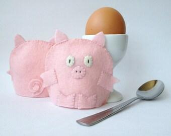 Egg Cosy Wool Felt Pig Pair pink