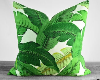 Pillow Cover - Modern Tropical Green - Resort summer banana leaves - Hawaii botanical palms  - Pick Your Size