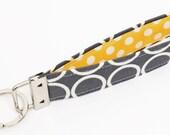 Fabric Key fob, mod keychain wristlet, cloth keyring, yellow key lanyard - white circles in gray with yellow polka dots