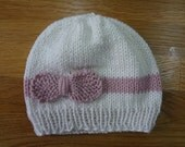 White and Pink Cotton Baby Hat with Bow + Leg Warmers 0-6 months