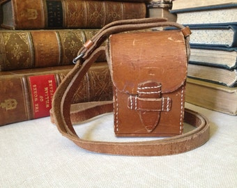 Vtg Leather // Crossbody // Steampunk // Industrial // Rustic Case / Small