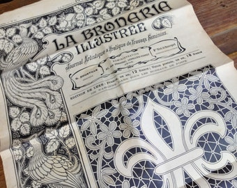 1901 French Magazine Journal, Embroidery, Lace and Monogram Patterns and Designs