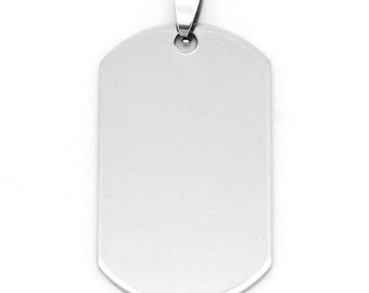 """2 Stainless Steel Charms Pendants - Rectangle - 5cm x 2.4cm (2"""" x 1"""") - Silver Finish - Metal Charm or Pendants (28776)"""