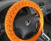 Crochet Steering Wheel Cover, Wheel Cozy - pumpkin (CSWC 2RRR)
