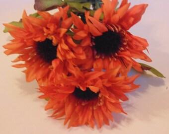 3 orange mum flowers (BR1)