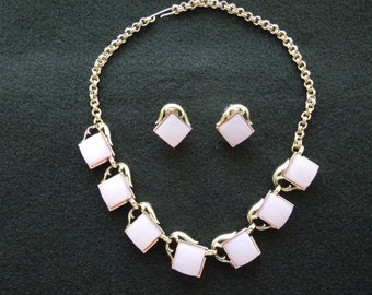 Vintage Necklace and Earrings Set.  Clip On Earrings.  Gold Tone with Pink Squares Feature.  Pretty