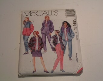 McCalls Pattern 7298 Miss Unlined Jacket Vest Top Skirt Pants