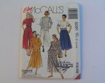 Vintage McCalls Pattern Fashion Basics 5091 Miss Two Piece Dress